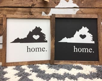 """State home sign with heart / Virginia state sign / 9"""" x 9""""/ handmade / gallery wall / home decor / wall decor / farmhouse sign /"""
