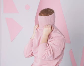 pink mock neck sweater size 38, candy tumblr millennial pink turtleneck pullover sweater, pastel minimal sweater