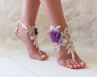 EXPRESS SHIPPING Ivory Purple Flowers Lace Barefoot Sandals Wedding Barefoot beach wedding barefoot sandals  Bridal party, Bridesmaid gifts