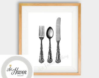 Kitchen Wall Art, Cutlery Print, Vintage Print, Kitchen Decor, Kitchen Print, Cutlery Print, Printable Poster, Digital Download, Vintage Art