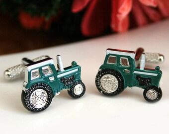 Tractor Cufflinks In Green