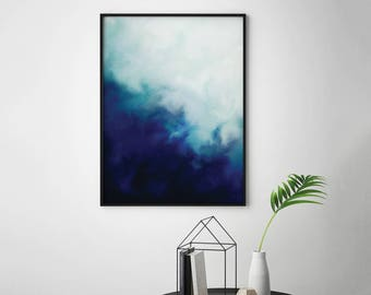 Navy Watercolor Printable Navy Blue Artwork, Navy Watercolor Print, Abstract Blue Wall Art, Navy Blue Abstract Art Blue Watercolor Printable