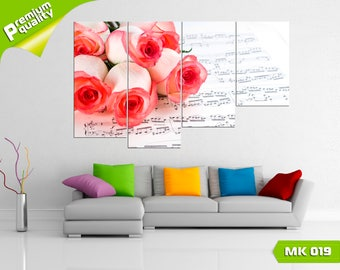 Notes in the smell of roses, Modular painting for Home & Office Decoration, Canvas print wall art, Poster home décor