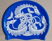 """The wrong blue! """"Sea Monsters"""" swimming hat / Sea Serpent swim cap. Printed on high-quality silicone.  Open water swimming."""