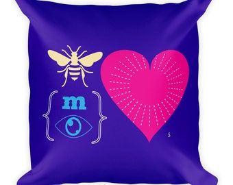 Be My Valentine REBUS Square Pillow | Valentine's Day | Art for Lovers | Romance | Gift Idea