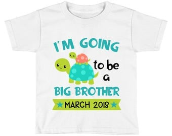I'm going to be a big brother Shirt - Pregnancy Baby Announcement - Turtle Promoted to big Brother - Big Brother to Be Boys - Custom Date
