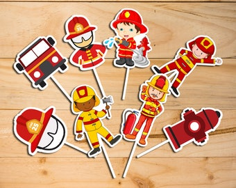 Firefighter Cupcake Toppers, Firefighter Printable Cupcake Topper, Firefighter Cake Topper, Firefighter Birthday Party | FL_FULL SET