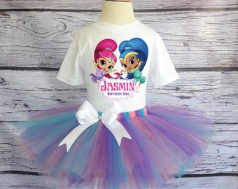 Shimmer and Shine Birthday Outfit, Shimmer and Shine Tutu, Shimmer and Shine Birthday Shirt, Shimmer and Shine Birthday-SS00