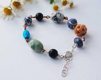 Boho Bead Bracelet/Handmade Bracelet/Hippy Bracelet/Bead Jewellery/Oriental Bracelet/Semi Precious Stone Bracelet/Gift for Her/