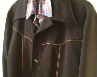 Vintage men's western leisure suit jacket size L 42 rockabilly disco hipster