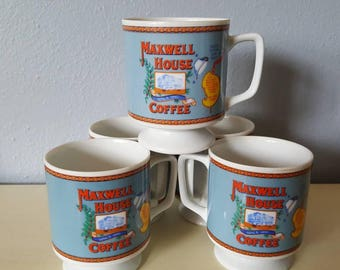 Vintage Maxwell House footed small coffee mugs set of 5