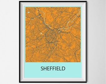 Sheffield Map Poster Print - Orange and Blue