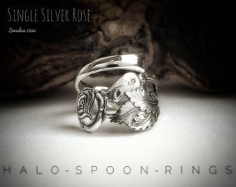 Very Pretty and Unique Trailing Rose Ladies Silver Spoon Ring Sweden 1922 and hallmarked 830s.