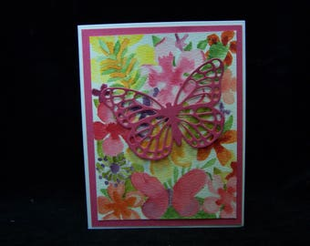 Greeting card, homemade card, handmade card, any occasion card, butterfly card, flowers