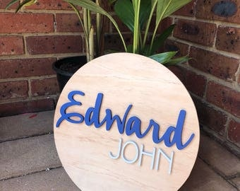 50cm round custom name sign, personalised, wall hanging, wood sign, hand cut