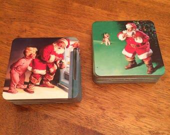 Vintage Coco Cola Christmas Santa Coasters ( 2 sets of 8 )