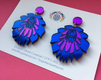 Blue earrings, purple earrings earrings, drop earrings, statement earrings