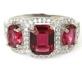 SALE Raspberry Rhodolite Garnet and White Sapphire Ring, 925 Silver w/Platinum, Free Shipping.