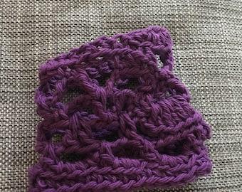 Purple Crochet Bracelet, Unique Yarn Bracelet, Accessories for Teens, Accessories for Women, Ruth's Bracelet in Purple