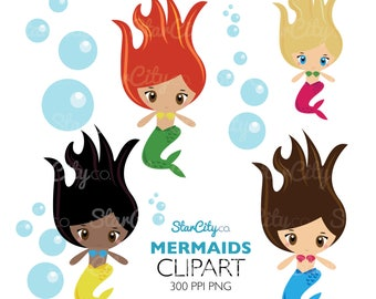 Mermaid Clipart, Kawaii Clip art, Bubble clipart, Mermaid clip art, under the sea clipart, kawaii clipart, cute clipart, Commercial use