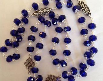 Long cobalt blue crystal glass necklace blue necklace flapper necklace fashion necklace long necklace beaded necklace crystal necklace