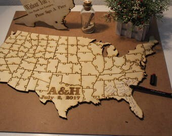 Wedding Guest book puzzle , Map State  puzzle , Rustic Puzzle , Custom Puzzle Wedding guest book alternative puzzle map Wooden puzzle