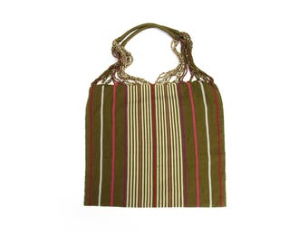 Loom Tote handbag - green with beige stripes - mexican Bag