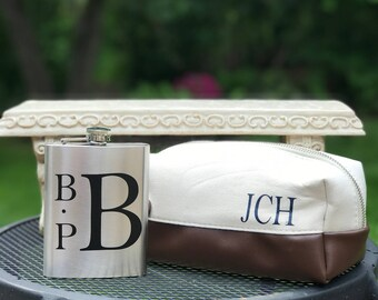 Monogrammed Flask, Personalized Flask, Stainless Steel Flask, Groomsmen Gift, Bachelor Party, Gifts for Him, Father's Day