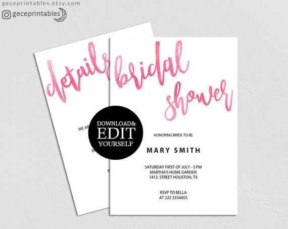 Pink Bridal Shower Invitation Template Diy Bridal Shower Modern