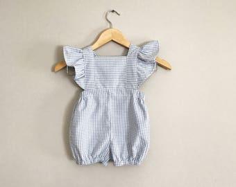 baby girl romper, girl romper, baby romper, handmade romper, gingham romper, girl first birthday outfit, romper, gingham ruffle romper