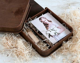 Wedding presentation box for 4x6 prints | Engraved box for photos and usb packaging
