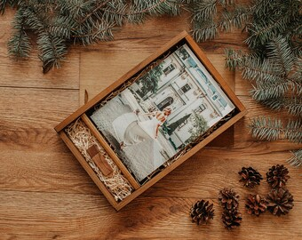 6x8 wood print box | Vintage 6x8 photo box for photos and USB drive (21x15 cm photo packaging)