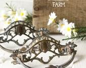 2 Antique Ornate Brass Drawer Pulls - Brass Plated Escutcheon - Backplate - Restoration Hardware - Architectural Salvage Shabby Chic Supply
