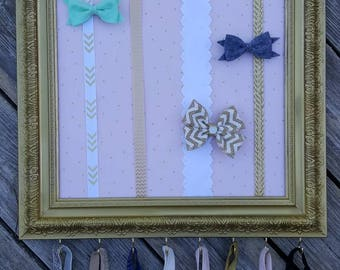 Pink & Gold Bow Holder Frame