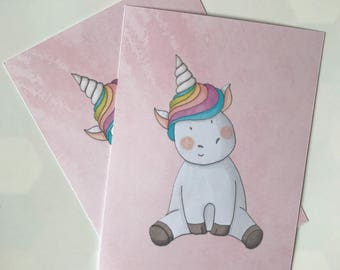 Unicorn on pink background - postcard