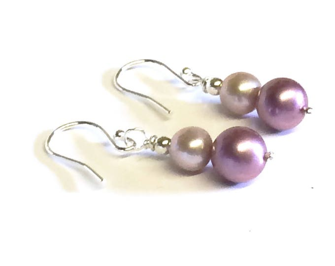 Champagne and Dusty Pink Freshwater Pearl Drop Earrings