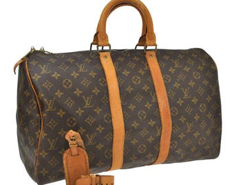 Louis Vuitton Vintage Authentic Keepall 45 Travel Hand Bag Purse Jumbo Duffel Monogram Leather Brown Beige M41428 ET00055