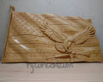 3d carved American Flag