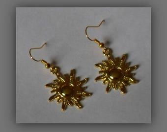 Sun Earrings,Gold Sun Earrings,Sun Dangle Earrings,Sun Goddess Earrings Gold