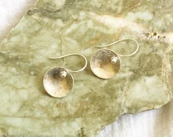 Fine (.999) reticulated silver dangle earrings