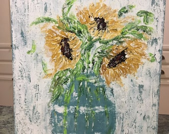 Sunflower Painting, sunflower painting, sunflower decor, floral painting, acrylic painting