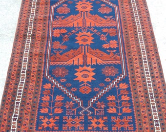 Oushak Rug,Turkish Rug,Vintage Rug,Anatolian Wool Rugs,3'7''x6feet,Home Living, area rug,fashion rug,Oushak Rug Blue,Rugs,Rug