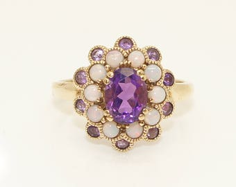 Vintage 9Ct Gold Amethyst & Fiery Opal Large Cluster Ring, Size S