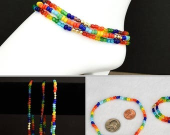 4mm Rainbow Glass Bead Stretch Ankle Bracelet