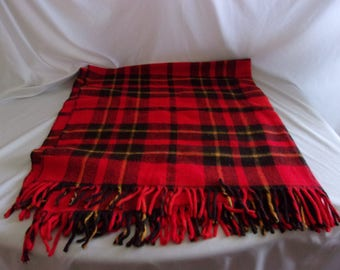 Vintage Faribo Red, Black, and Yellow Plaid Wool Blanket