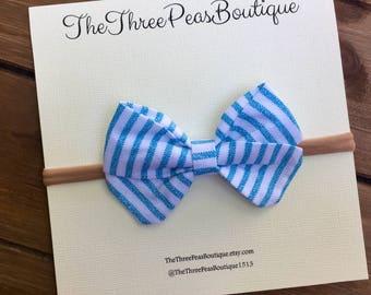 Sweet Pea Bow/Blue Stripe