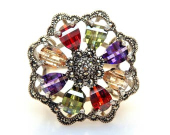 Sterling Silver Multicolor Cubic Zirconia Marcasite Accent Flower Ring