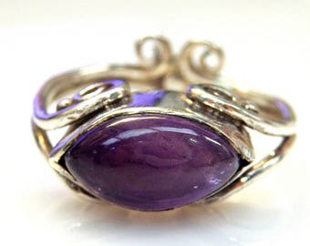Sterling Silver Marquise Shaped Amethyst Unique Design Ring