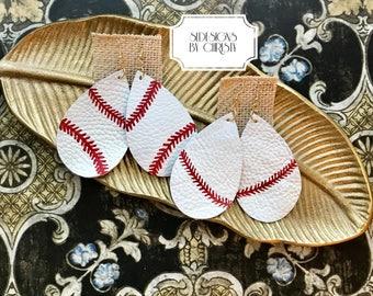 Leather Earrings,Teardrop Earrings,White Earrings,Baseball Earrings,Hand Painted Earrings