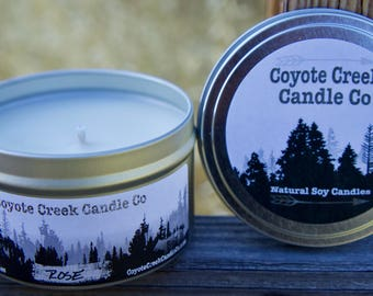 Rose 8oz. Natural Soy Candle Tin